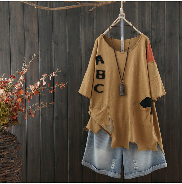 AUTUMN VINTAGE INSPIRED LETTERS PATCH T SHIRT