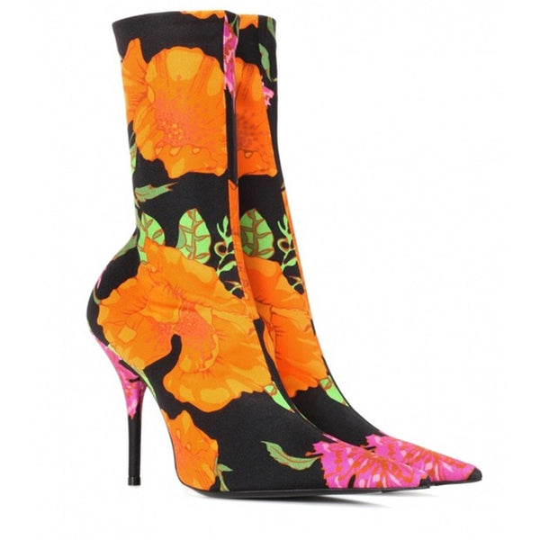 WANGO PARIS FLOWER PRINT HIGH HEEL STOVEPIPE SHOES - boopdo