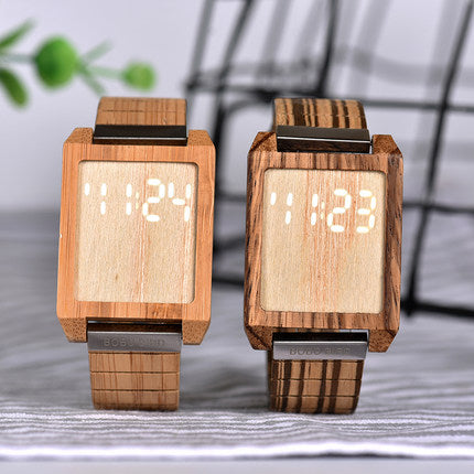 BOBO BIRD SQUARE WOODEN LED TOUCH SCREEN DISPLAY WATCH