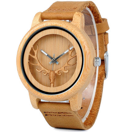 BOBO BIRD BAMBOO DEER HEAD CONCEPT WATCH WITH LEATHER BAND IN TAN
