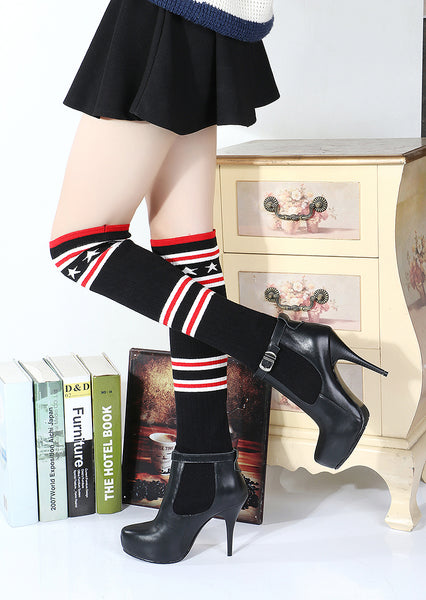 LOXPIA BOOPDO OVER THE KNEE PLATFORM STILETTO HIGH HEEL BOOTS IN BLACK - boopdo