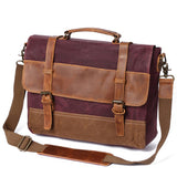 OIL WAX BACKPACK CANVAS LEATHER 15 INCH BRIEFCASE - boopdo