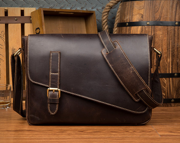 MANTIME KYLE HANDMADE CROSS STRAP LEATHER MESSENGER BAG IN BROWN AND KHAKI - boopdo