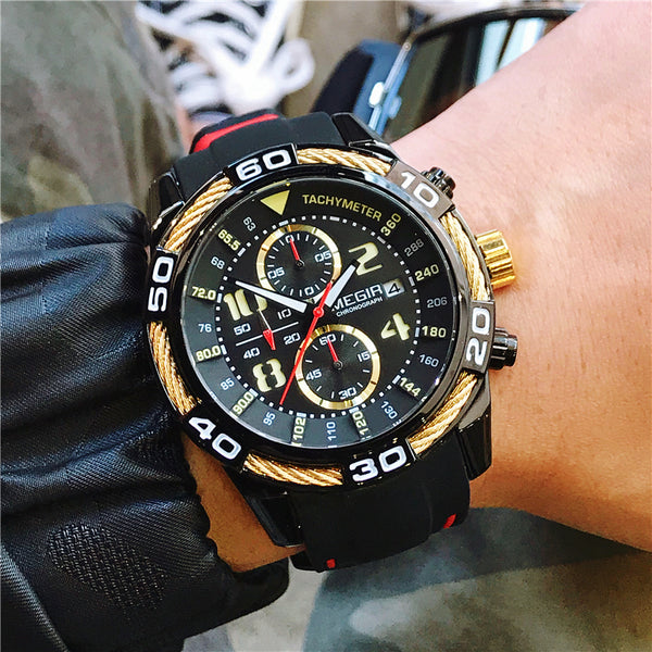 MEGIR TACHYMETER CHRONOGRAPH RUBBER BELT WATCH - boopdo