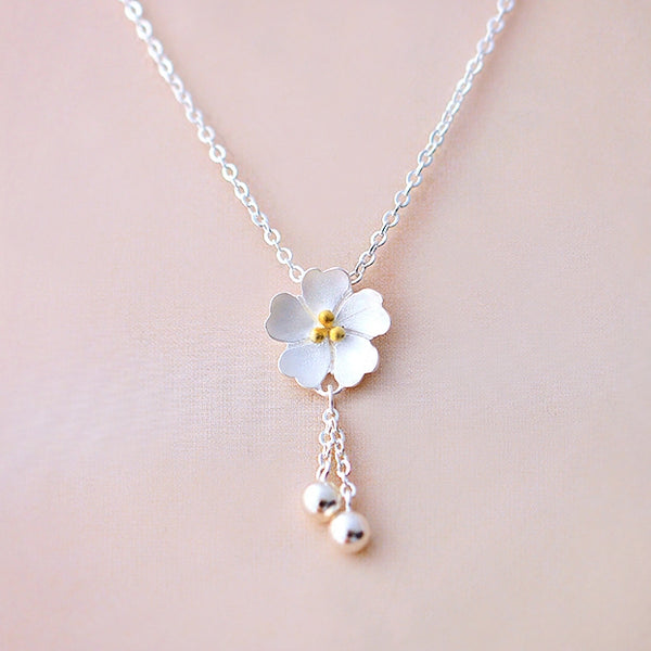 SILVER OF LIFE 925 CHERRY BLOSSOMS SILVER NECKLACE - boopdo