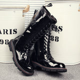KUQI PERONI ITALY BOUTIQUE PATENT LEATHER HIGH TOP TUBE BLACK BOOTS - boopdo