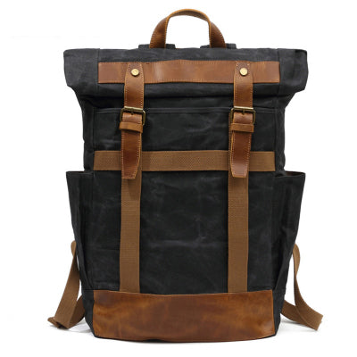 MRX CHOW CANVAS LEATHER WATERPROOF LARGE CAPACITY OUTDOOR BACKPACK - boopdo