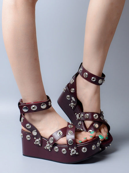 PROVAPERFETTO WIDE FIT PLATFORM STUDDED WEDGES - boopdo