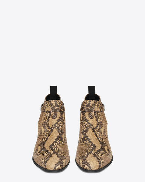 NADEMILI LEOPARD TOE POINTED SERPENTINE SNAKE LEATHER CHELSEA BOOTS - boopdo