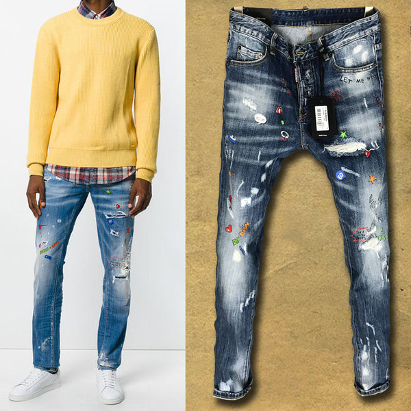 ZACH DEAN RIPPED SPRAY PAINT SLIM JEANS IN BLUE - boopdo
