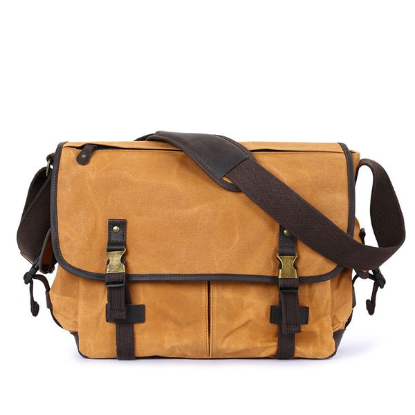 canvas leather casual shoulder bag