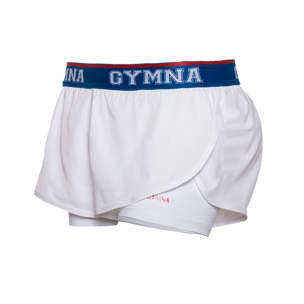 GYMNA TWO IN ONE GYM SHORTS WITH BLUE WAIST BAND - boopdo