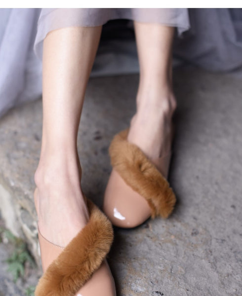 ARTMU SQUARE TOE FLUFF DETAIL MULE LOAFER