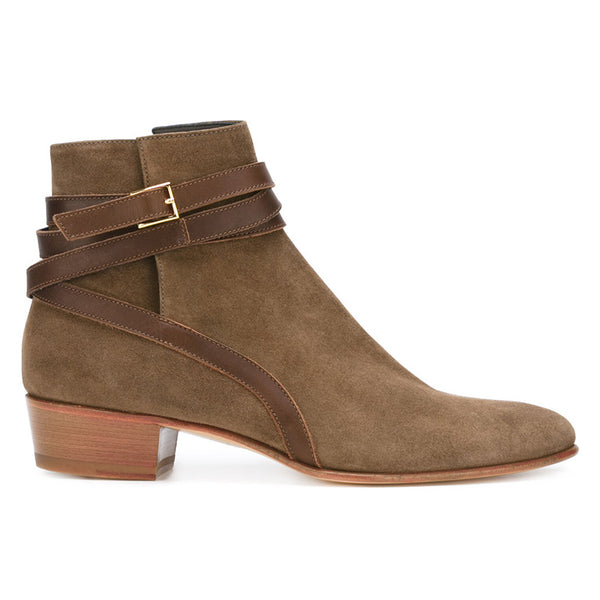 NADEMILIA BUCKLED TOE POINTED WESTERN BROWN CHELSEA BOOTS
