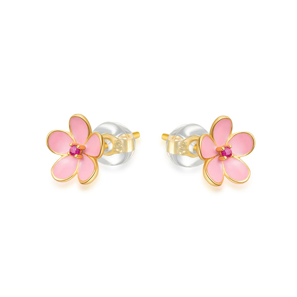LITTLE JOYS 18K GOLD PINK FLOWER STUD EARRINGS - boopdo