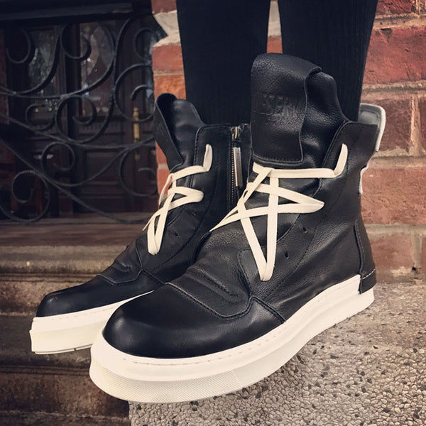 NESERV SNEAKERS LACE UP COLOR BLOCK HIGH TOP BOOTIES - boopdo