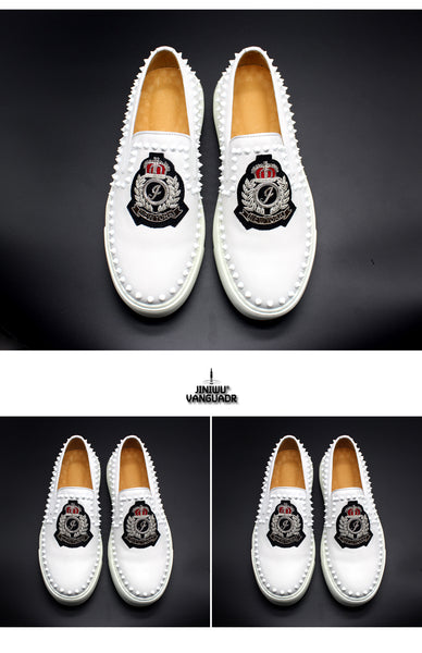 JINIWU VANGUARD TCR INDIAN HANDMADE NEW YORK SPIKED SHOES IN WHITE