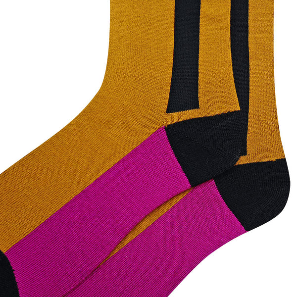 MONDAYS RETRO STYLE STRIPED KNEE SOCKS IN MUSTARD