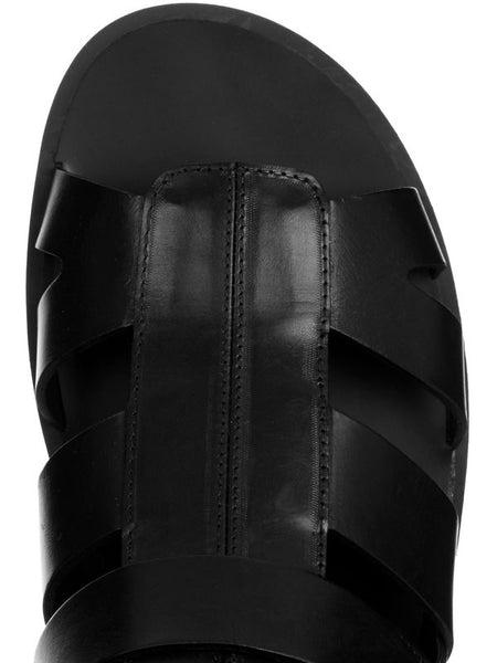 ROMANCIX NADEMILI BUCKLE OPEN TOE UNISEX BLACK LEATHER SANDALS - boopdo