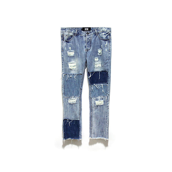 BORN TOWIN PATCH RIPPED DENIM JEAN SWEATPANTS - boopdo