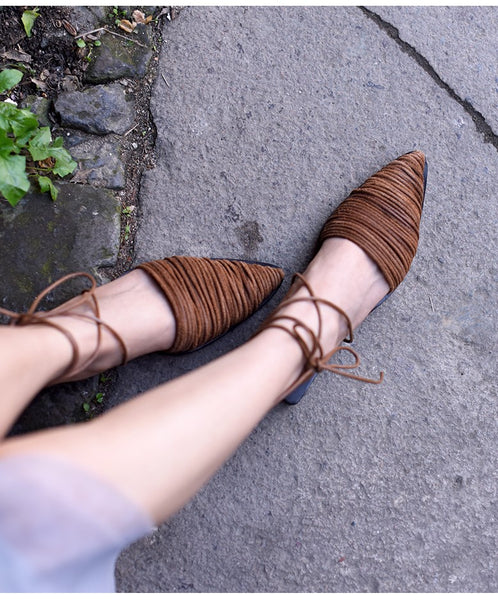 ARTMU LEATHER WOVEN MULES WITH ANKLE TIES