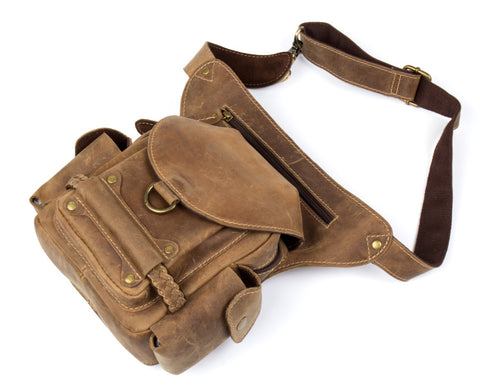 BOOPDO DESIGN MAN TIME OUTDOOR HANDMADE LEATHER WAIST BAG
