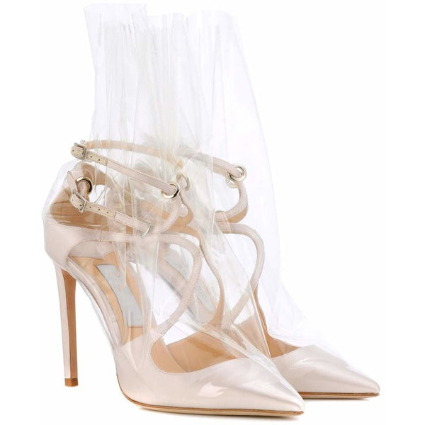 PIPPIN PORTO STRAPPY TRANSPARENT POINTED HIGH HEEL SHOES