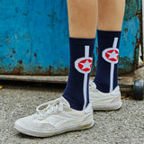 GYMNA CONTRAST STAR PRINT SOCKS IN DARK BLUE - boopdo