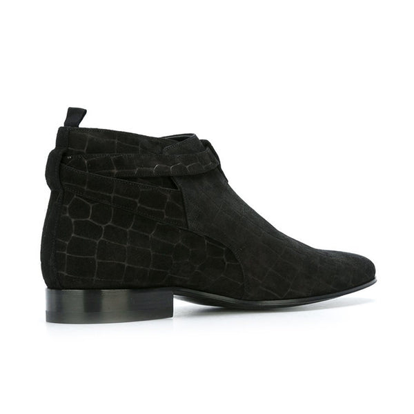 NADEMILI STONE PATTERN FLAT HEEL BLACK ANKLE CHELSEA BOOTS - boopdo
