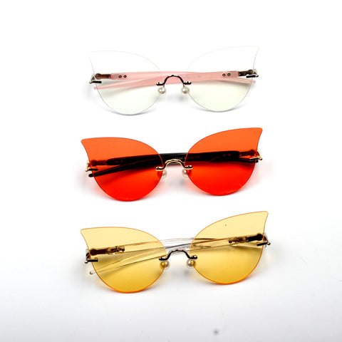 CAT EYE FLAT MIRROR PEARL NOSE SUPPORT SUN GLASSES RADIATION BLUE LIGHT
