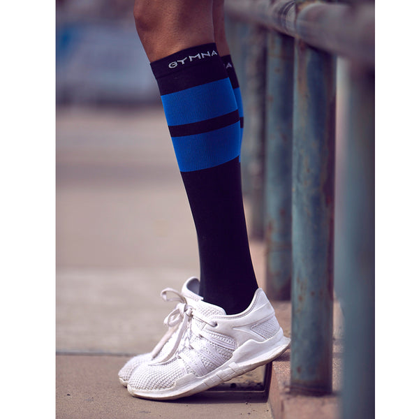 GYMNA STRIPE DESIGN KNEE HIGH SOCKS WITH LOGO PRINT - boopdo