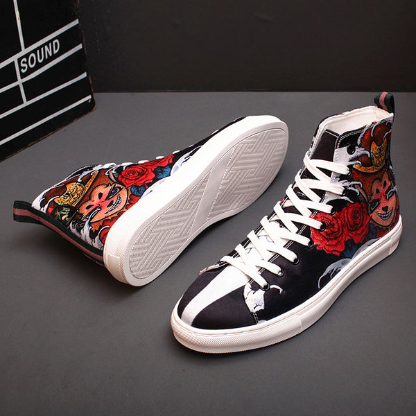 CHINOX HALL OF FAME WUKONG PRINT GAZELLE CANVAS SNEAKER IN BLACK - boopdo