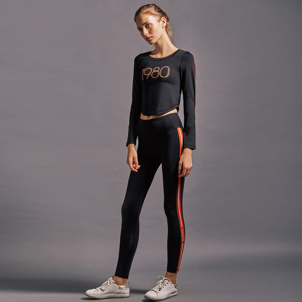GYMNA RED SIDE STRIPE LEGGINGS IN BLACK - boopdo