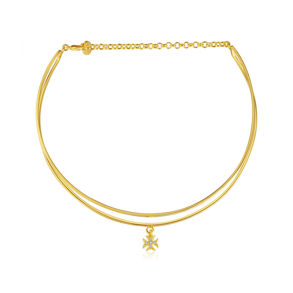 JELLY GIRL 14K GOLD PLATED DOUBLE LAYERED CHOCKER WITH CROSS PENDANT - boopdo