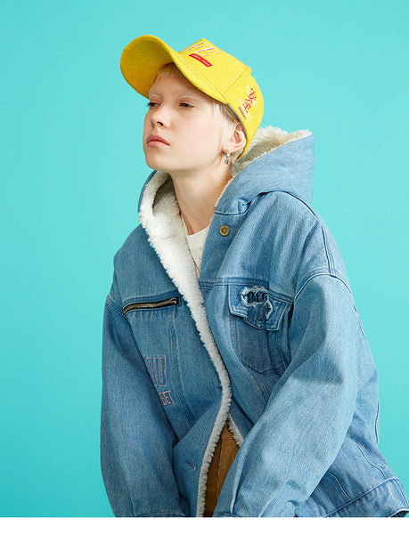 TOYOUTH DENIM JACKET WITH HOOD WITH BORG LINING8830845001 - boopdo