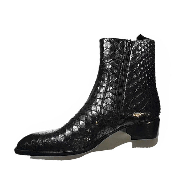 HARPX HOUNDS BRITISH SNAKE LEATHER BLACK CHELSEA BOOTS