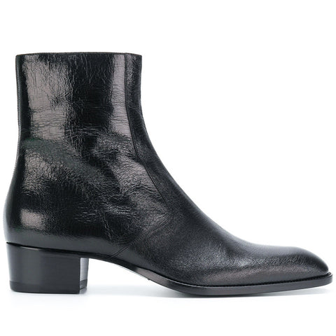 BOOPDO DESIGN BLACK AURA TOE POINT CHELSEA ANKLE BOOTS