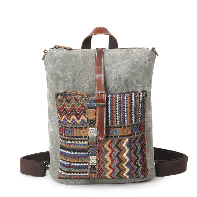MUCHUAN MULTI FUNCTION CANVAS ETHNIC STYLE POPUP BACKPACK 12 INCHES - boopdo