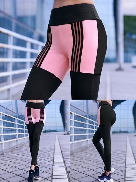 MIP CONTRAST PANEL LEGGINGS WITH BLACK STRIPE DETAIL