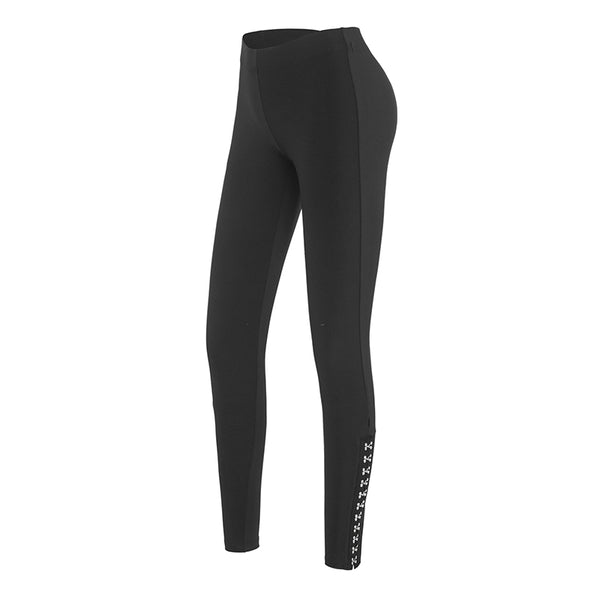 MIP STUD SIDE DETAIL LEGGINGS IN BLACK - boopdo