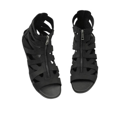 ROMAN EMPIRE BLACK CANTALOUPE LEATHER SANDALS - boopdo
