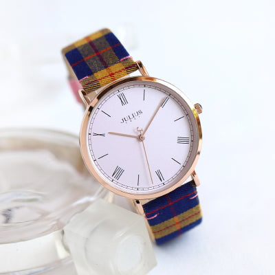 JULIUS BRITISH RETRO PLAID CLOTH QUARTZ WATCHES IN MULTI COLOR - boopdo