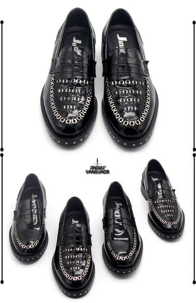 JINIWU VANGUARD HANDMADE CLASSIC STAINLESS COPPER OIL BLACK LOAFER SHOES - boopdo