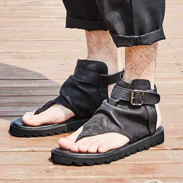 HERILIOS HANDMADE BY MASTER CRAFTSMEN OPEN TOE LEATHER ROMAN SANDALS - boopdo