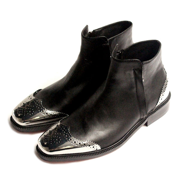 JINIWU VANGUARD BROGUE METAL TOE DOUBLE ZIPPER LEATHER ANKLE BOOTS IN BLACK - boopdo