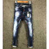 DSTWO PATCH RIPPED HOLE WASHED DENIM PATCH PAINT BLUE JEAN PANTS