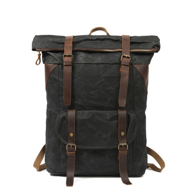 BOOPDO DESIGN OIL WAX CANVAS LEATHER WATERPROOF 15 INCHES TRAVEL BACKPACK - boopdo