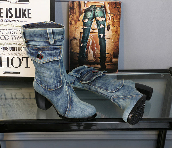 BOOPDO CLOTH UPEXLIA CANVAS DENIM JEAN BOOTS WITH SIDE POCKET