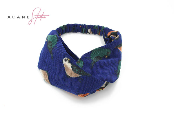 ACANE STUDIO TWIST HEAD BAND IN LITTLE BIRD FIGURED - boopdo