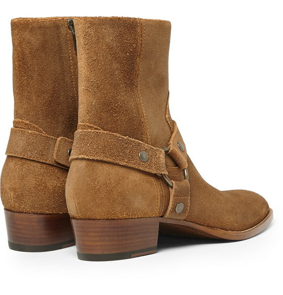 NADEMILI BARTAN TOE POINTED ZIP BROWN CHELSEA BOOTS